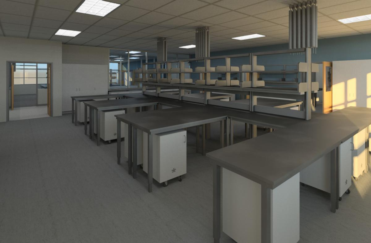 Rendering of a DNA Lab in Virtual Reality Model of the Unified Metropolitan Forensic Crime Laboratory building - Douglas County, Colorado